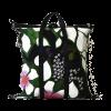 borsa in canvas floreale e cinture di sicurezza vista da dietro