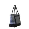 Borsa shopper in tessuto fantasia azzurro con pannello solare