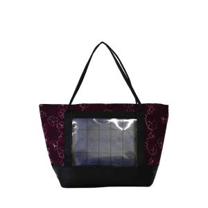Borsa shopper in tessuto fiori fuchsia con pannello solare