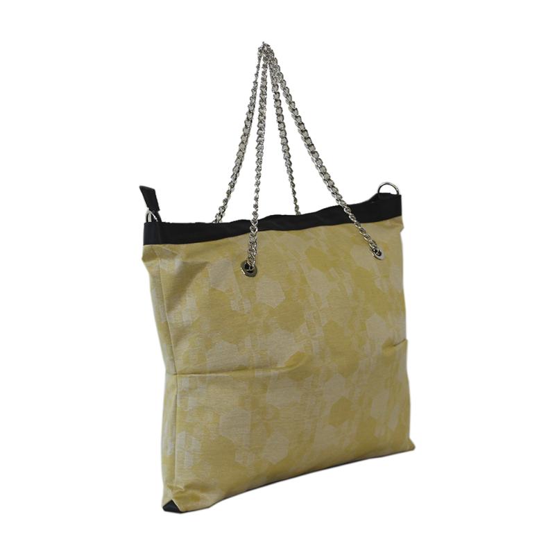 Borsa shopper in tessuto fantasia giallo con manici in catena