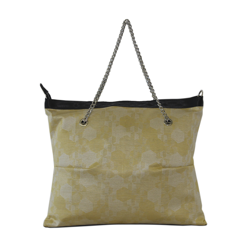 Borsa shopper in tessuto fantasia giallo con manici in catena