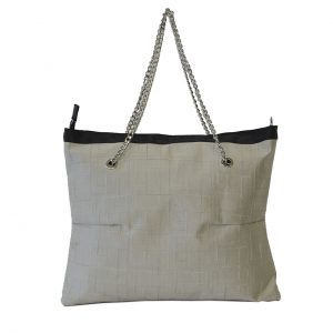 Borsa shopper in tessuto beige ricamato con manici in catena