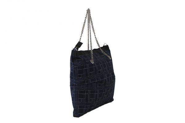 Shopping Chain blu con ricamo vista 3/4