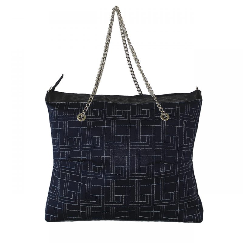Borsa shopper in tessuto blu ricamato con manici in catena