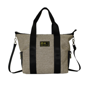 Borsa bauletto in canvas marrone chiaro con manici e tracolla