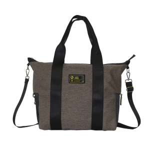 Borsa bauletto in canvas marrone con manici e tracolla