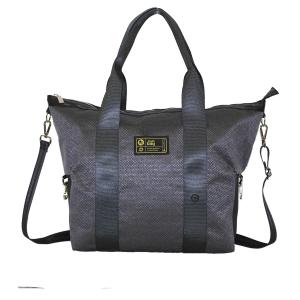 Borsa bauletto grigio scuro argentato con manici e tracolla