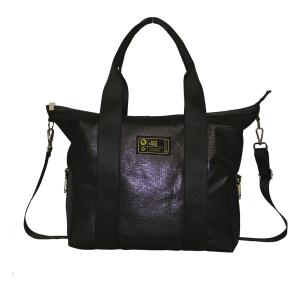Borsa bauletto in tessuto nero glitter con manici e tracolla