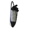 zaino in canvas grigio e cinture di sicurezza con pannello solare