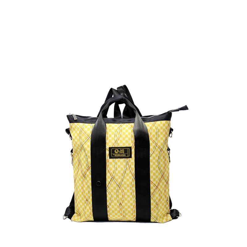 Borsa/zaino in jersey fantasia giallo