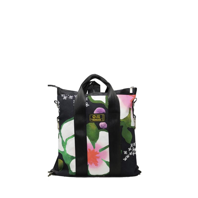 Borsa/zaino in tela cotone a fiori