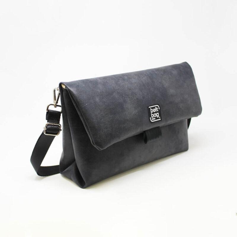FLAP BG similpelle effetto vintage colore nero con chiusura in cintura nera LAT