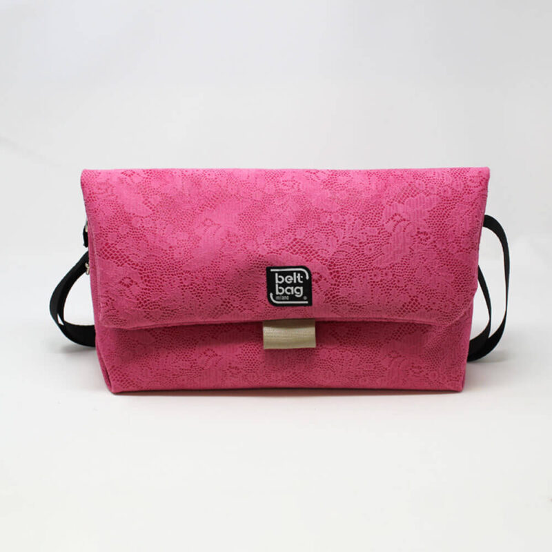 FLAP BG similpelle stampata fantasia floreale color rosa confetto con chiusura in cintura beige FRONT