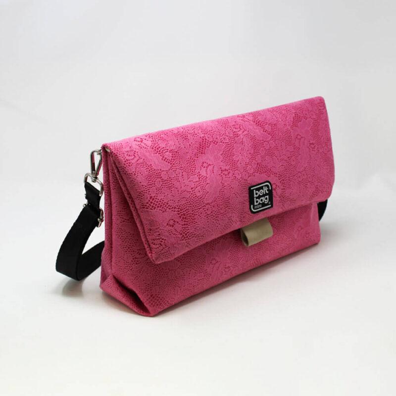 FLAP BG similpelle stampata fantasia floreale color rosa confetto con chiusura in cintura beige LAT