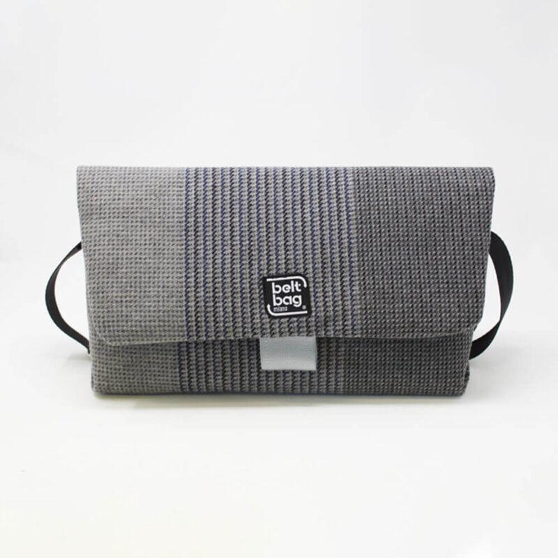 FLAP BG tweed grigio-blu con chiusura in cintura grigio chiaro FRONT
