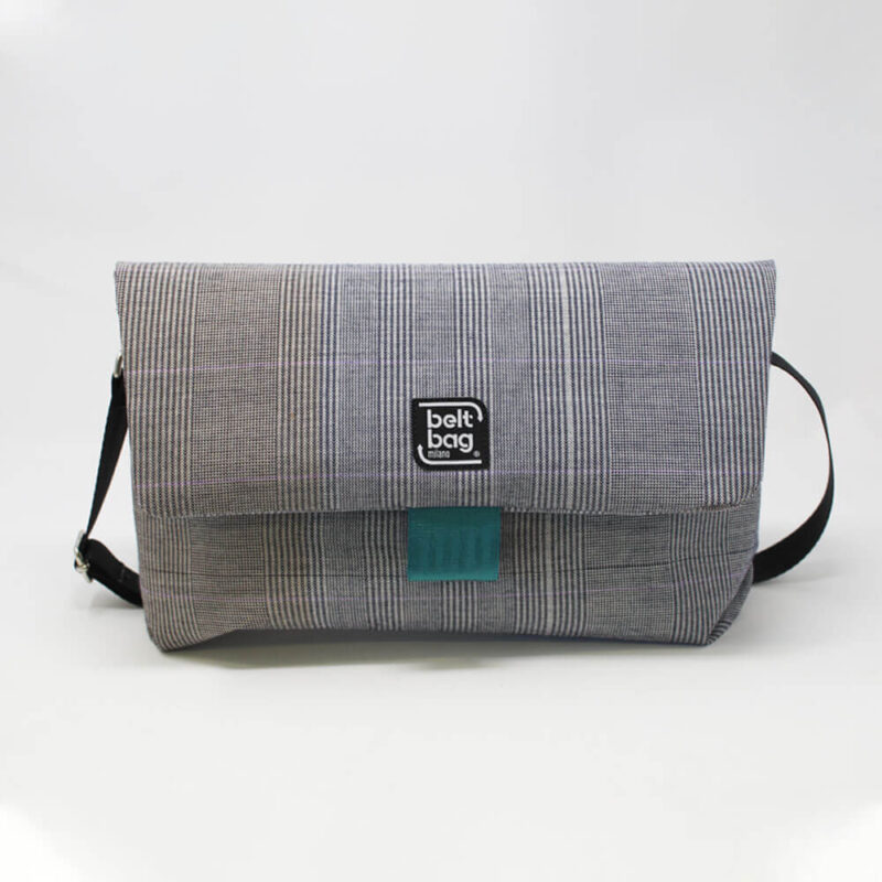 FLAP BG tweed scozzese bianco-grigio con chiusura in cintura acquamarina FRONT