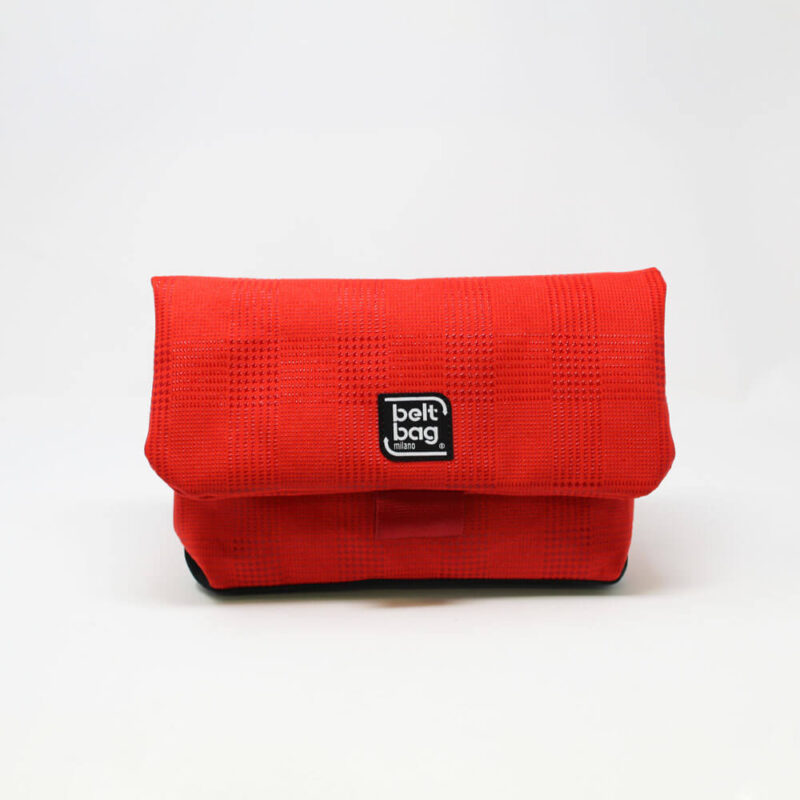 FLAP MD similpelle stampata tweed colore rosso con chiusura in cintura rossa FRONT
