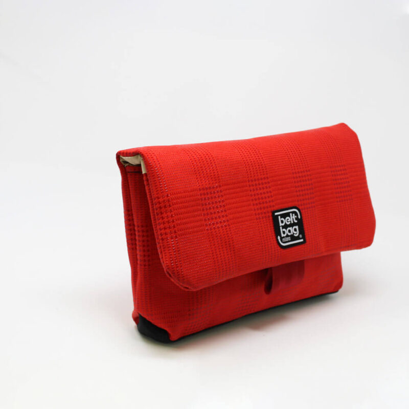 FLAP MD similpelle stampata tweed colore rosso con chiusura in cintura rossa LAT