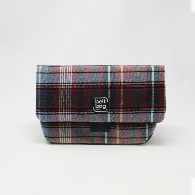 FLAP MD tartan celeste-verdone-viola righe nere con chiusura in cintura nera FRONT