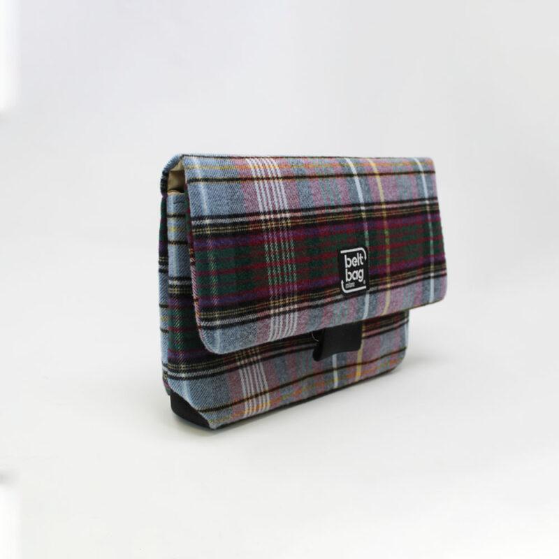 FLAP MD tartan celeste-verdone-viola righe nere con chiusura in cintura nera LAT