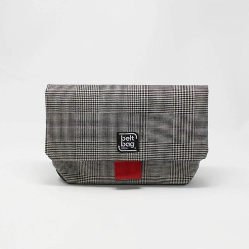 FLAP MD tweed scozzese nero-bianco con chiusura in cintura rossa FRONT