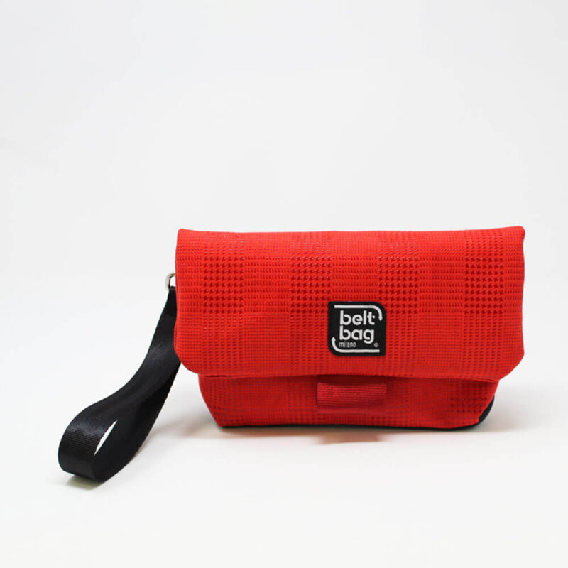 FLAP MN similpelle stampata tweed colore rosso con chiusura in cintura rossa FRONT