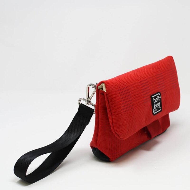 FLAP MN similpelle stampata tweed colore rosso con chiusura in cintura rossa LAT