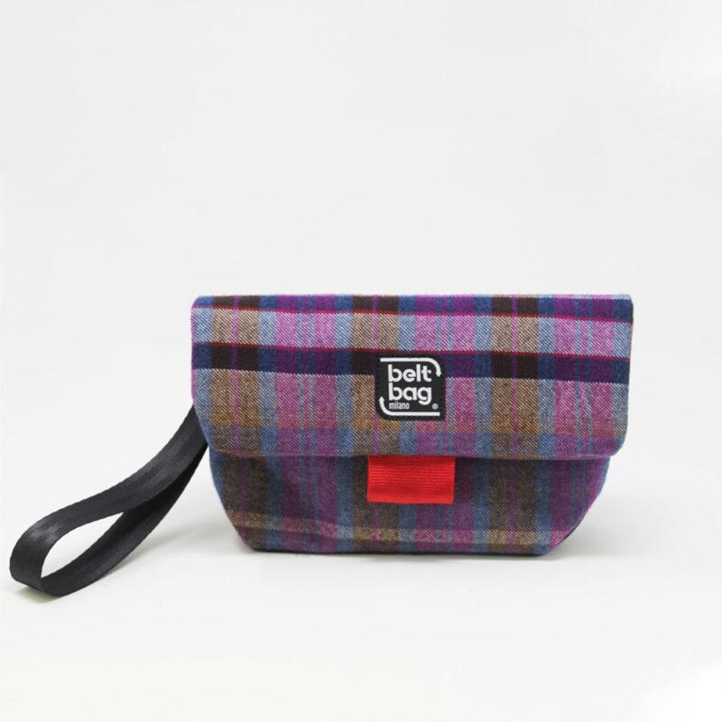 FLAP MN tartan viola-azzurro-senape con chiusura in cintura rossa FRONT